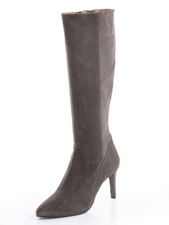 Alba Moda Stiefel aus Rindsveloursleder, Grau