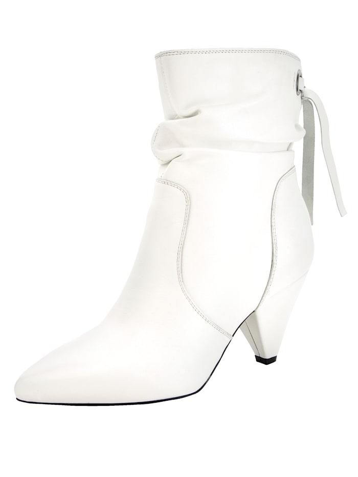 Stiefelette mit trendigem Trichterabsatz, Weiß