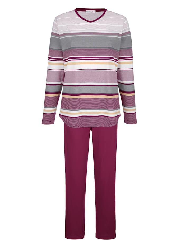 Hajo Schlafanzug in hochwertiger Klimafaser-Qualität, Bordeaux/Ecru/Grau