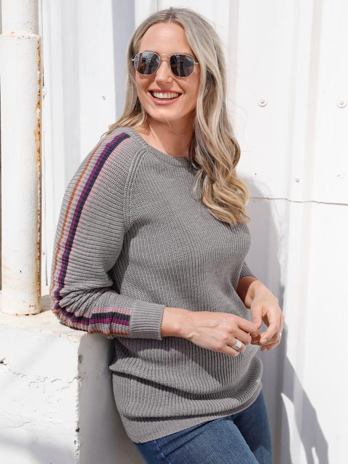 MIAMODA Pullover mit Streifen, Grau/Beere