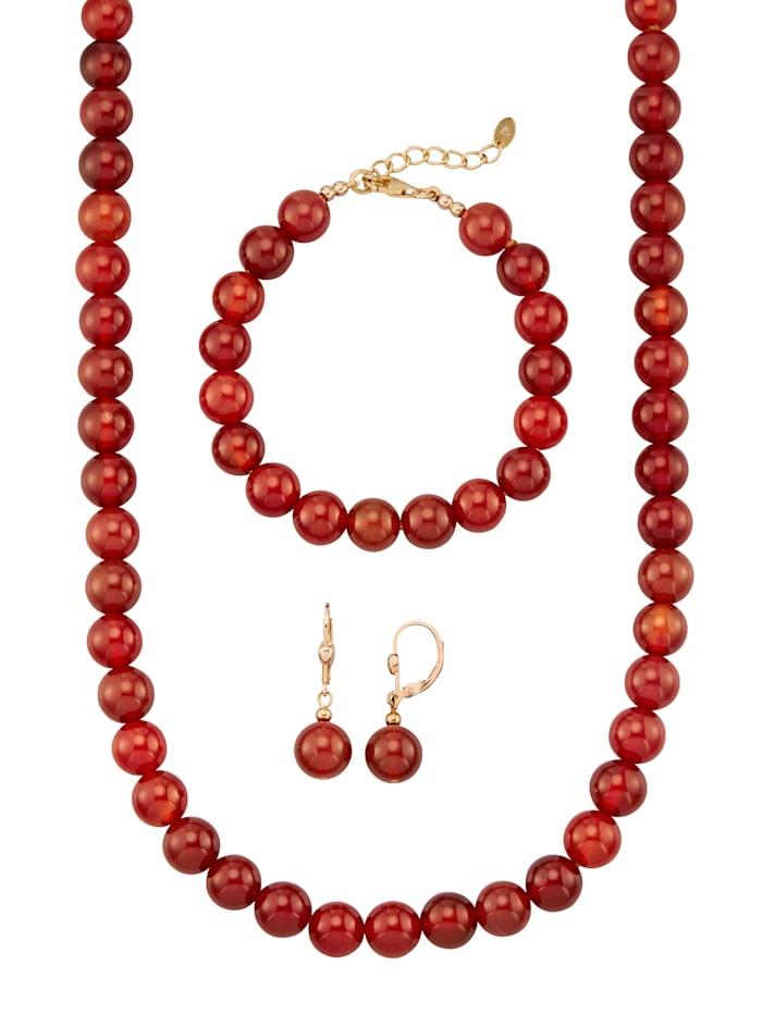 Diemer Farbstein Halsband, armband & örhängen av röda agatkulor, Röd