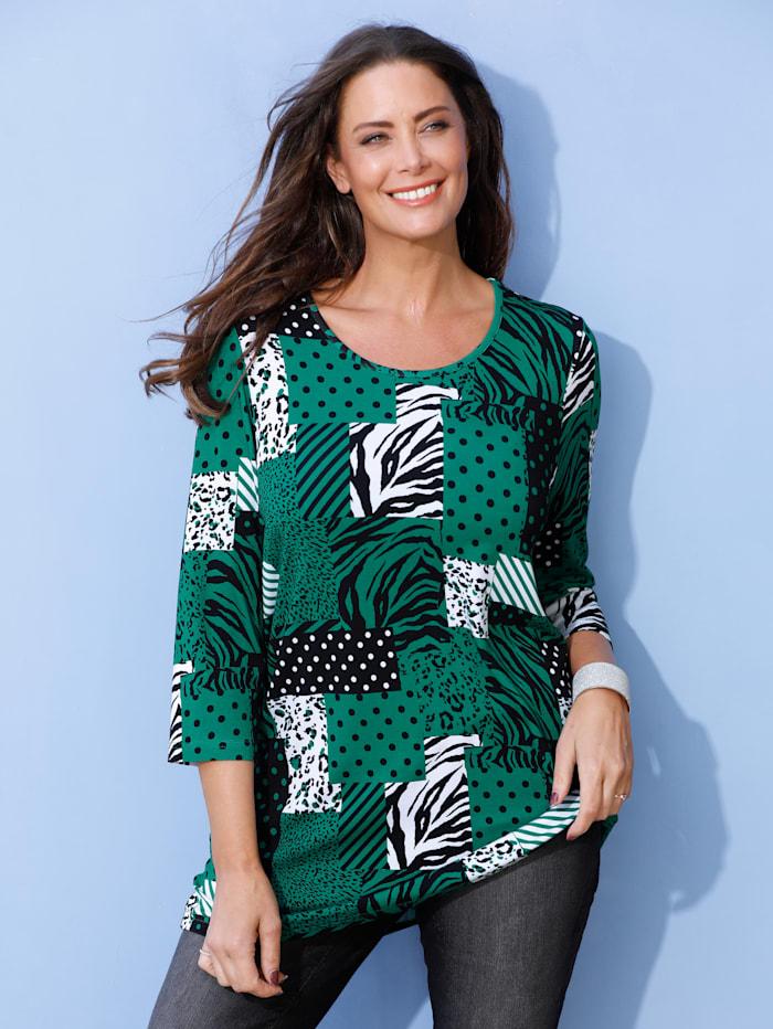 MIAMODA Shirt mit Patchdruck, Grün/Weiß/Schwarz