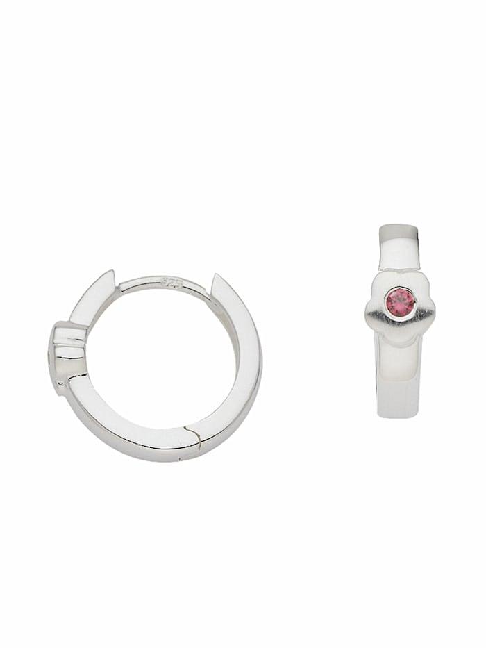 1001 Diamonds 1001 Diamonds Damen Silberschmuck 925 Silber Ohrringe / Creolen Blüte mit Zirkonia Ø 13,3 mm, rosa