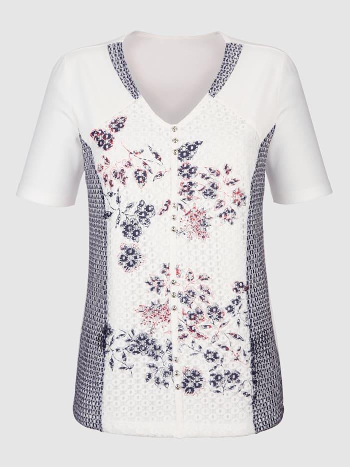 Shirt mit bedruckten Spitzeneinsätzen
