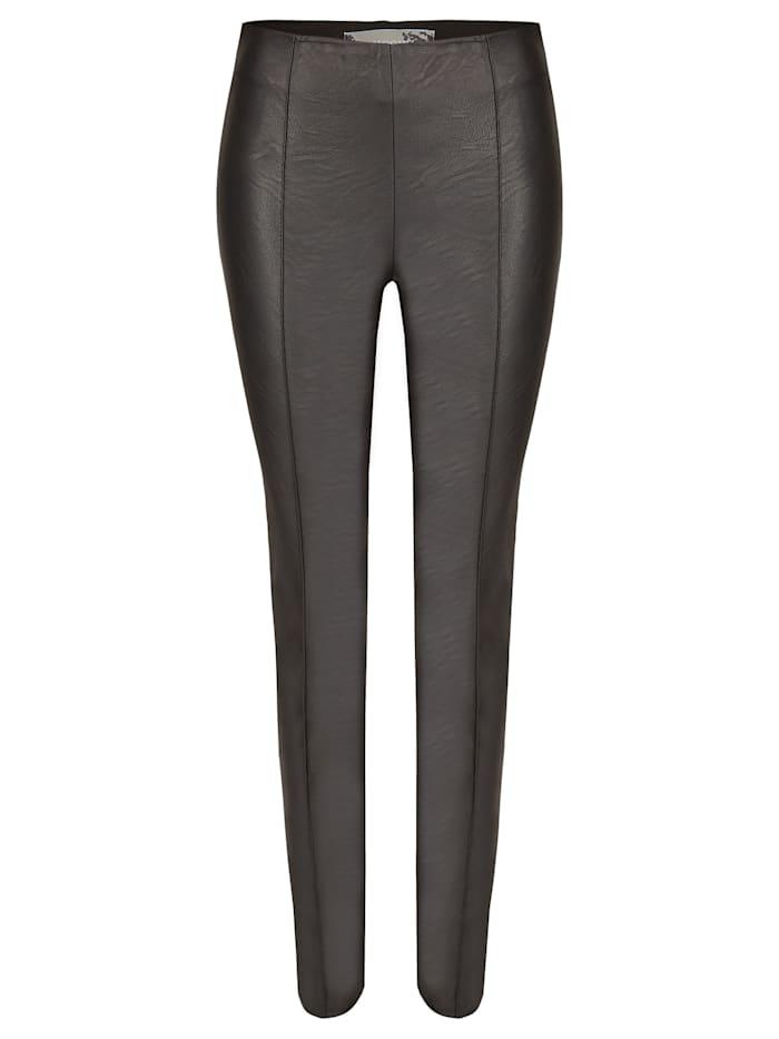 Nicowa Trendige Hose NOLARIA mit Kunstledereinsatz, black