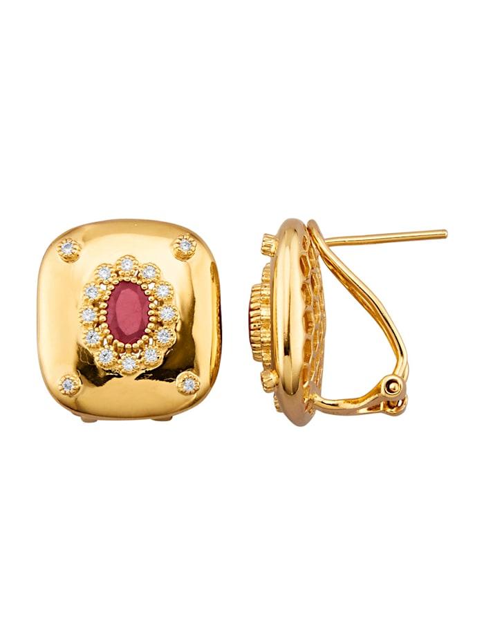 Örhängen i guldfärgat silver 925, Röd