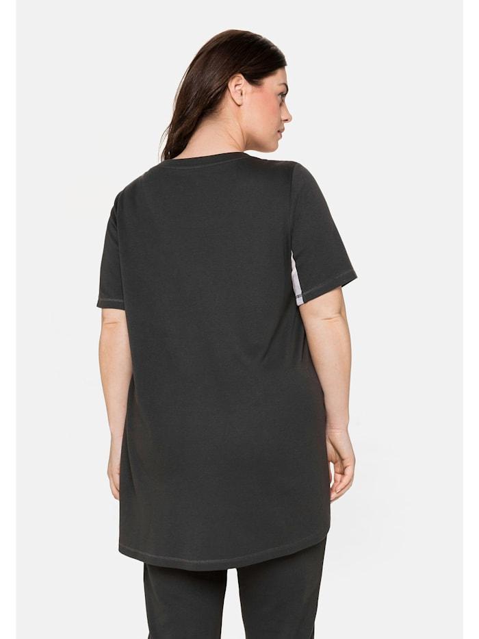 T-Shirt mit Kontrasteinsätzen, aus Interlock