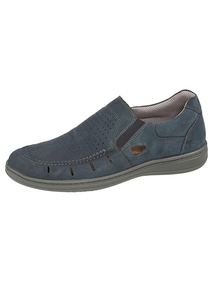 Jomos Slipper mit sommerlich perforiertem Blatt, Marineblau