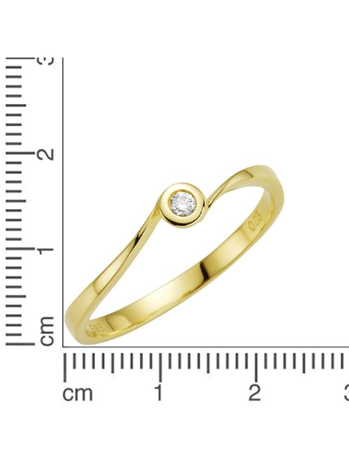 Ring 585/- Gold Brillant weiß Brillant Glänzend 0.03 Karat 585/- Gold