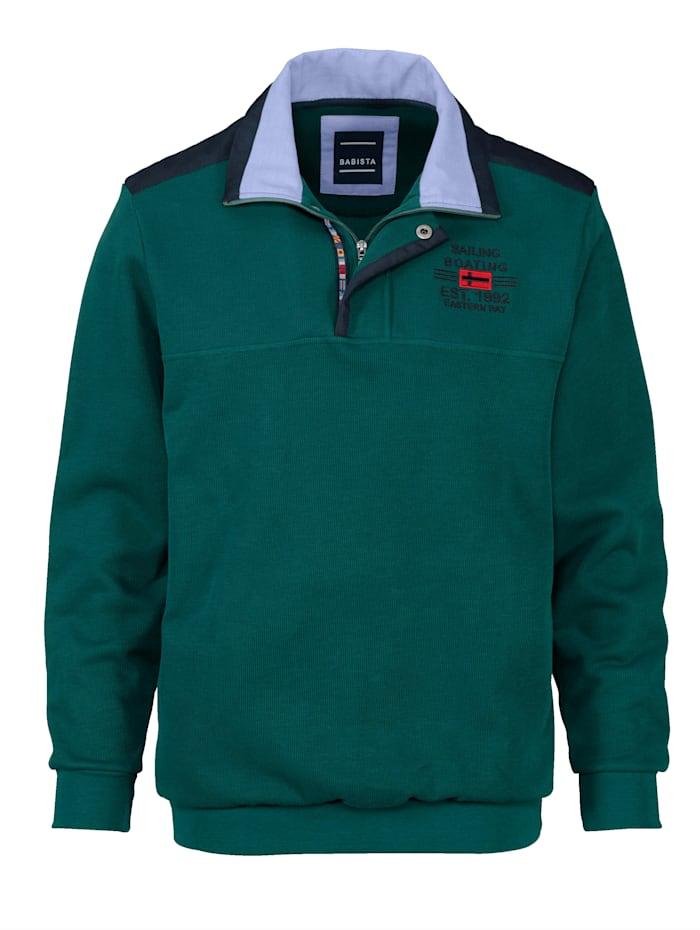 BABISTA Sweatshirt met luxueuze kraag, Groen