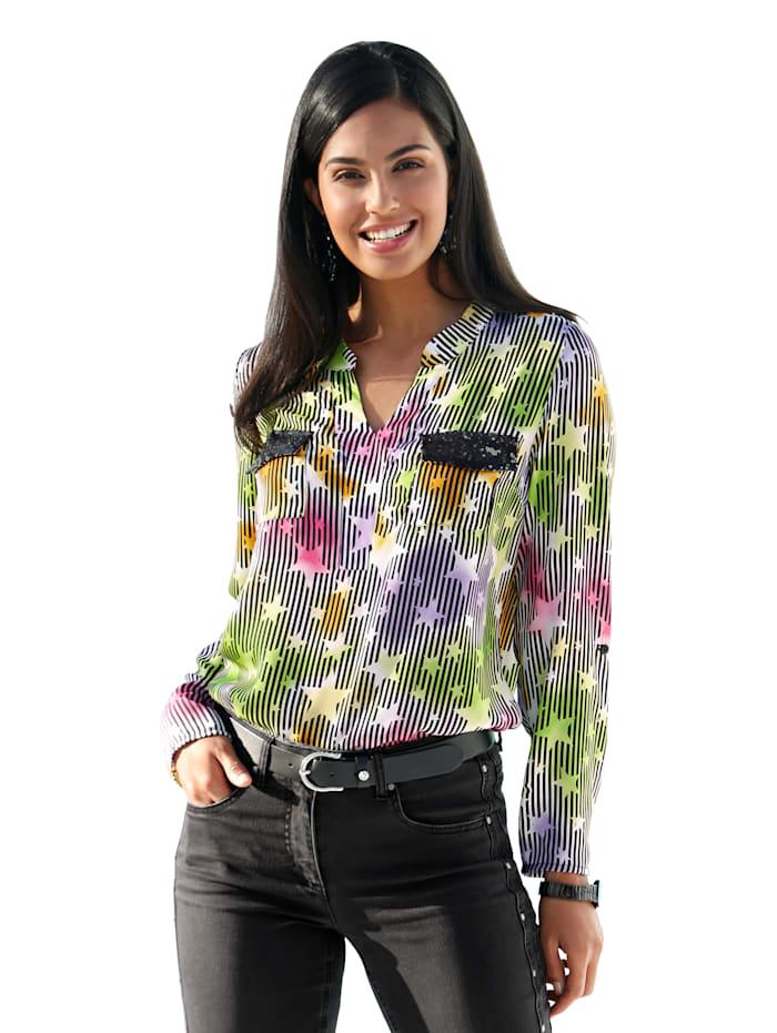 Bluse in buntem Streifen- und Sternendruck