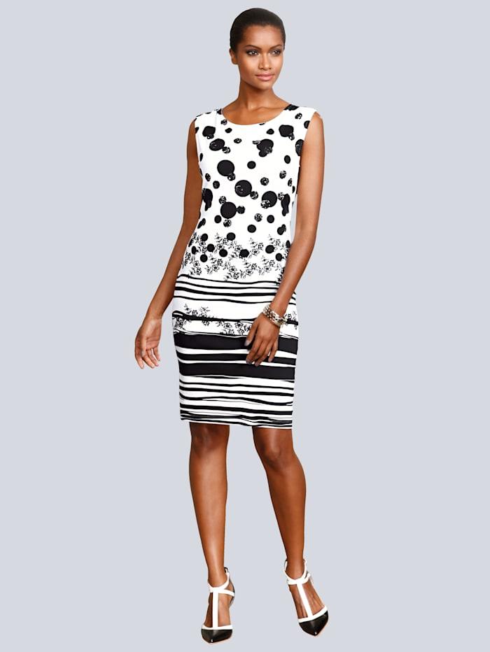 Alba Moda Jerseykleid mit grafischem Print, Weiß/Schwarz