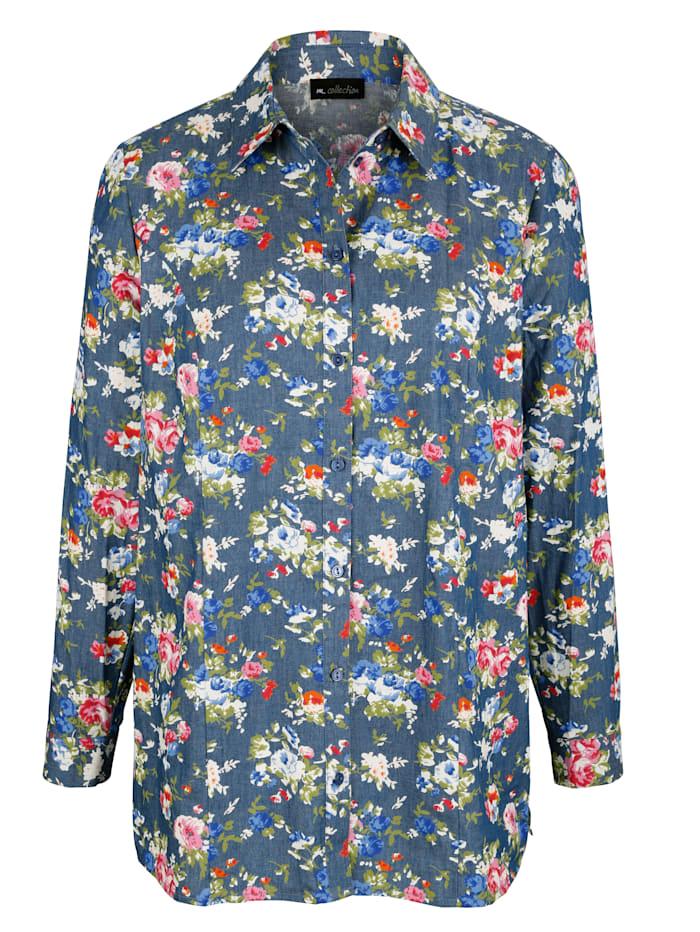 Jeansbluse in floralem Druckdesign