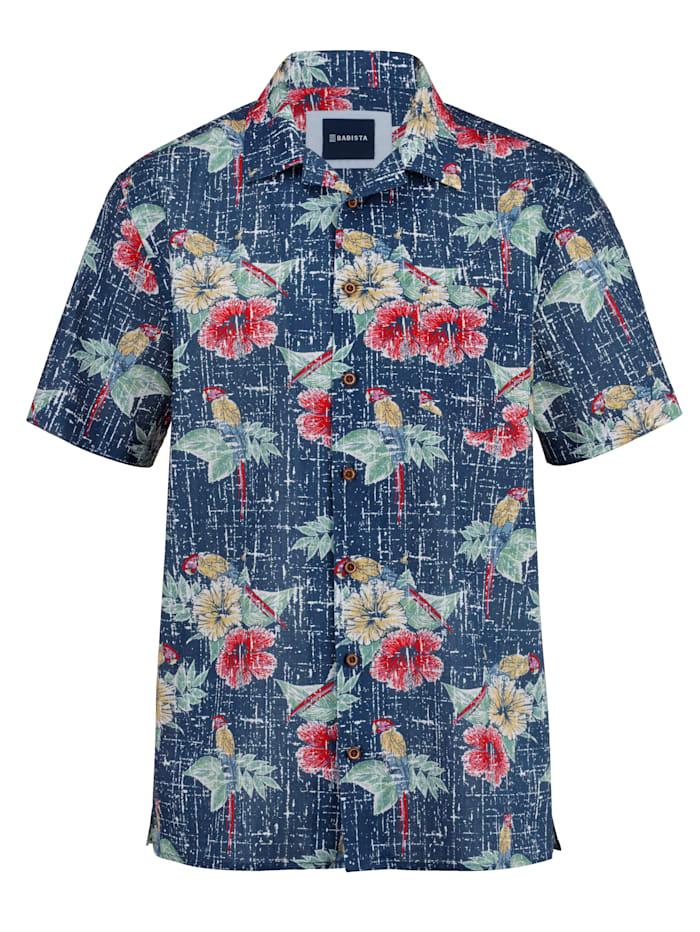 BABISTA Chemise hawaïenne en pur coton, Bleu/Multicolore