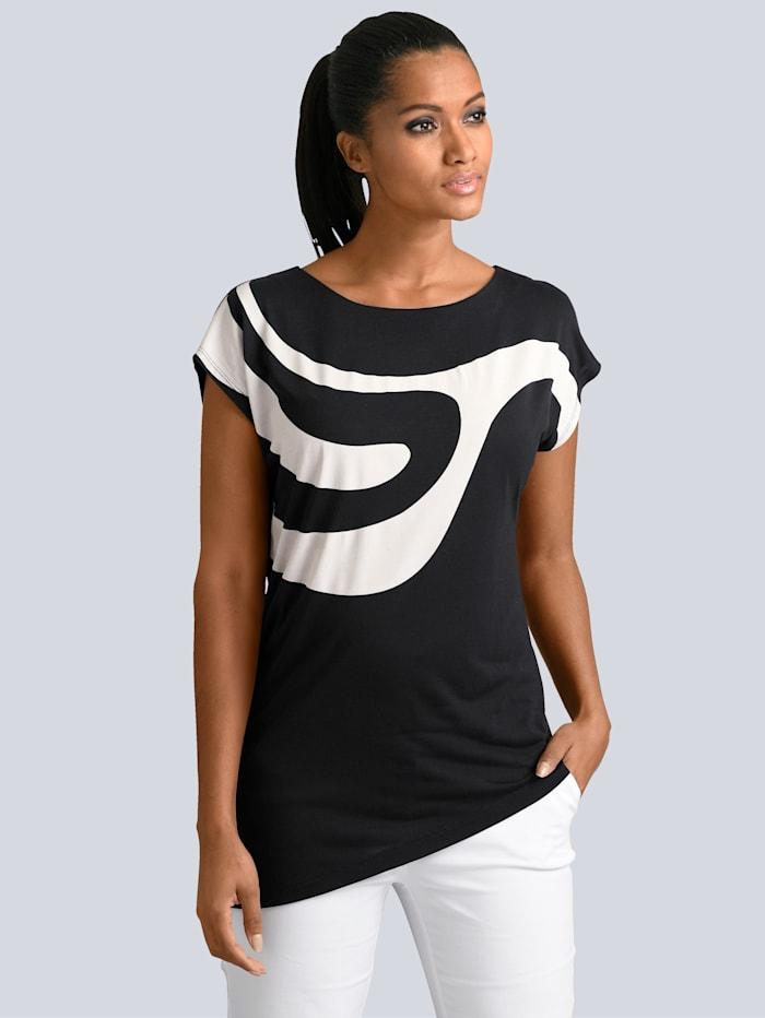Alba Moda Shirt mit grafischem Muster im Vorderteil, Schwarz/Off-white
