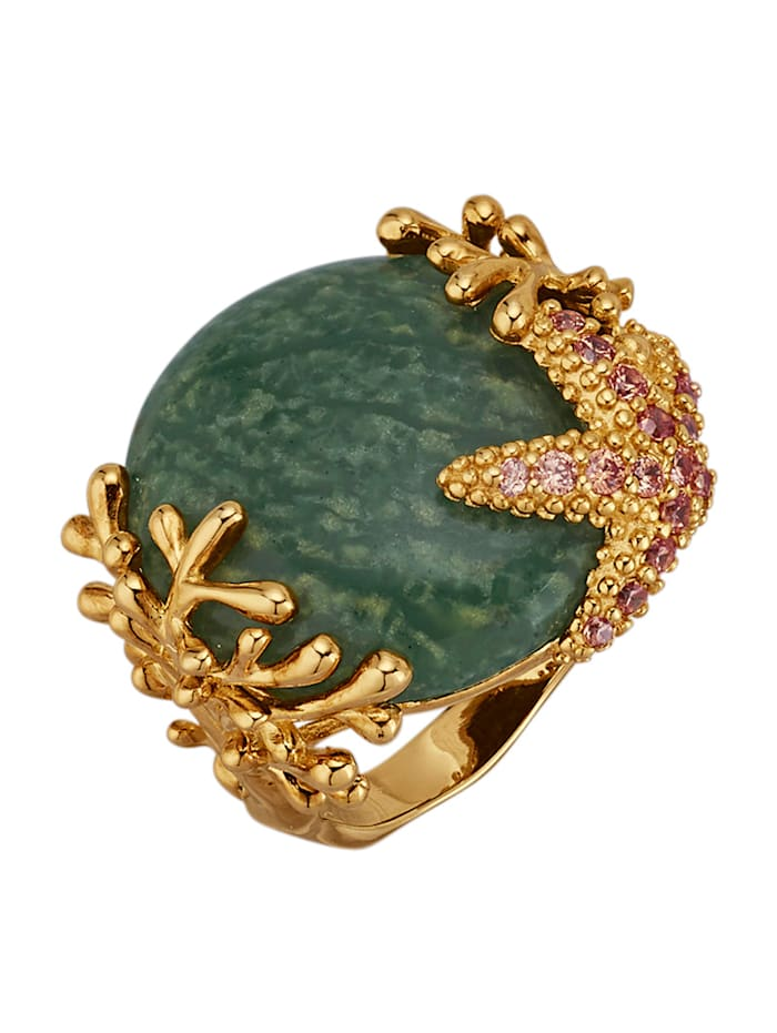 Seestern-Ring mit grünem Quarz und synth. Zirkonia, Grün