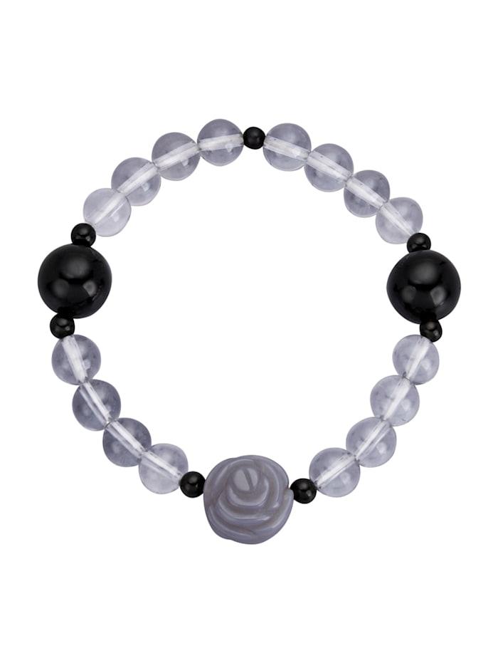 Armband mit Bergkristallen, Grau