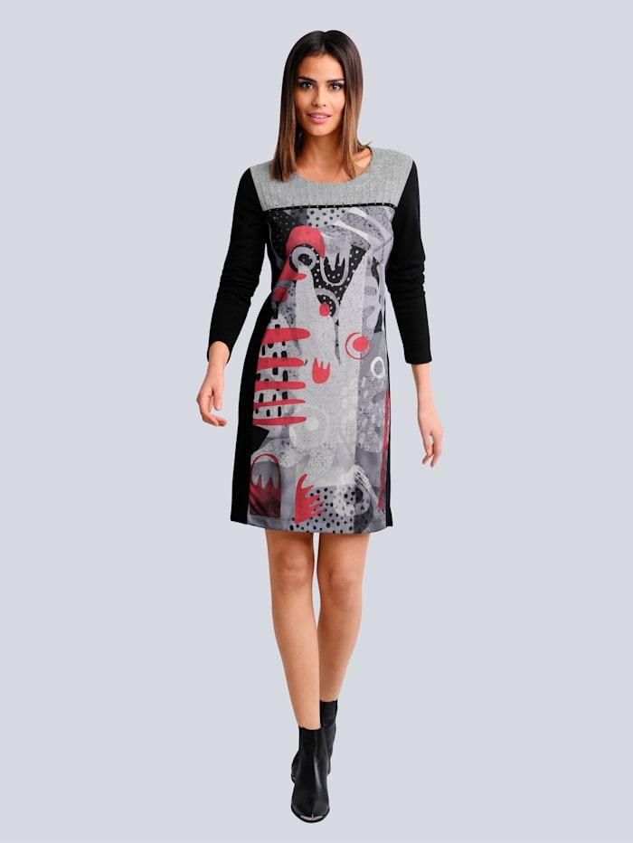 Alba Moda Jersey jurk met een dessinmix, Zwart/Rood/Grijs