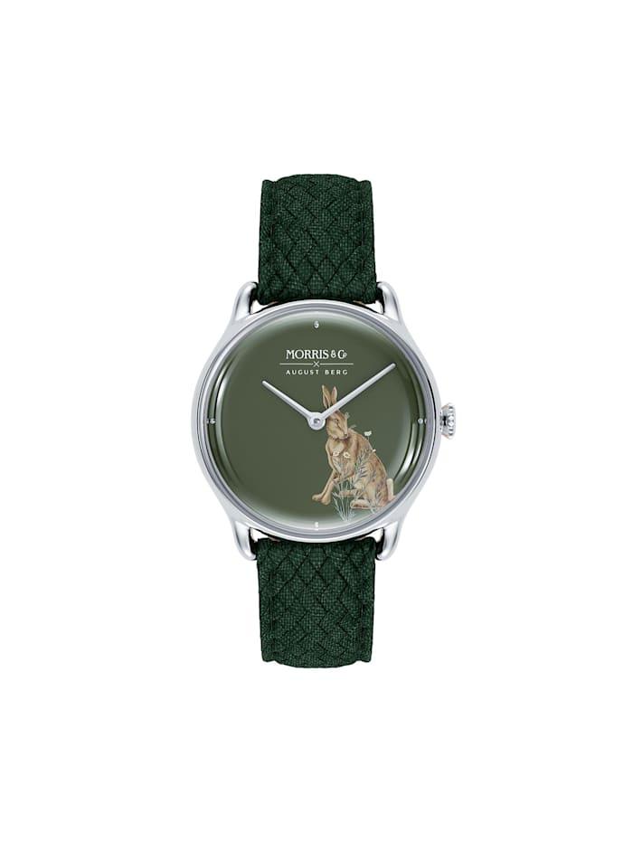August Berg Uhr MORRIS & CO Silver Green Perlon 30mm, crimson