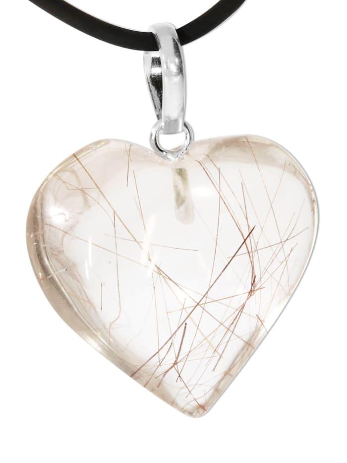 1001 Diamonds Damen Schmuck Edelstein Rultilquarz Anhänger 925 Silber bunt Herz, bunt