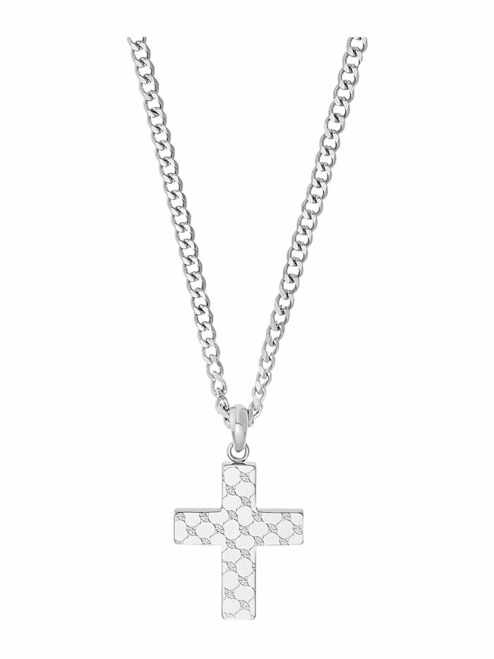 JOOP! Kette mit Anhänger für Herren, Edelstahl | Kreuz, Silber