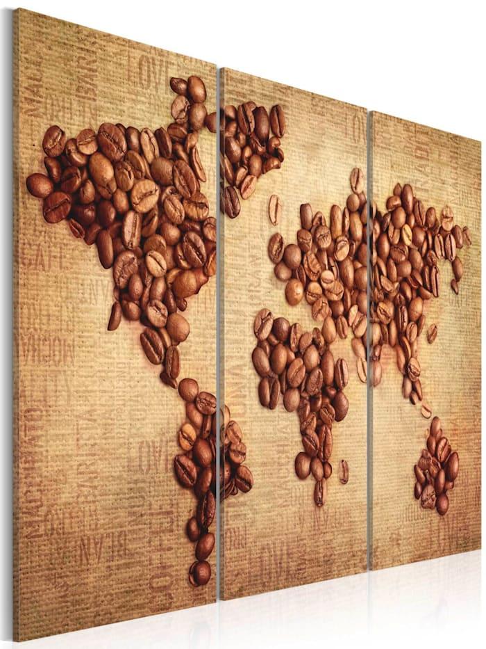 artgeist Wandbild Kaffee aus der ganzen Welt - Triptychon, Beige,Braun