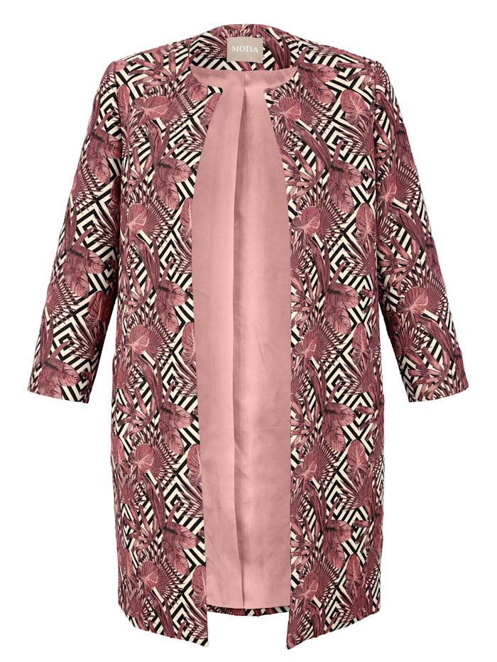 Longline blazer made from a jacquard fabric