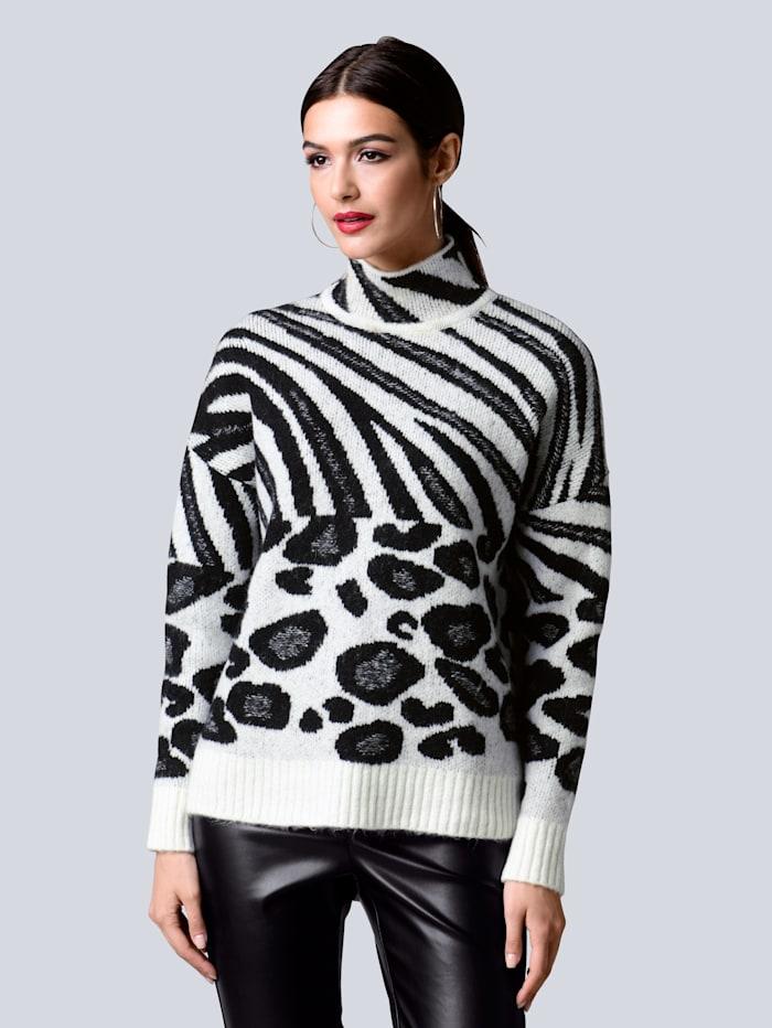 Alba Moda Pullover im neu designten Animalmustermix, Off-white/Schwarz
