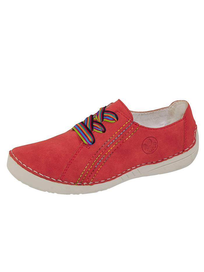 Rieker Schnürschuh mit bunten Schnürsenkeln, Rot