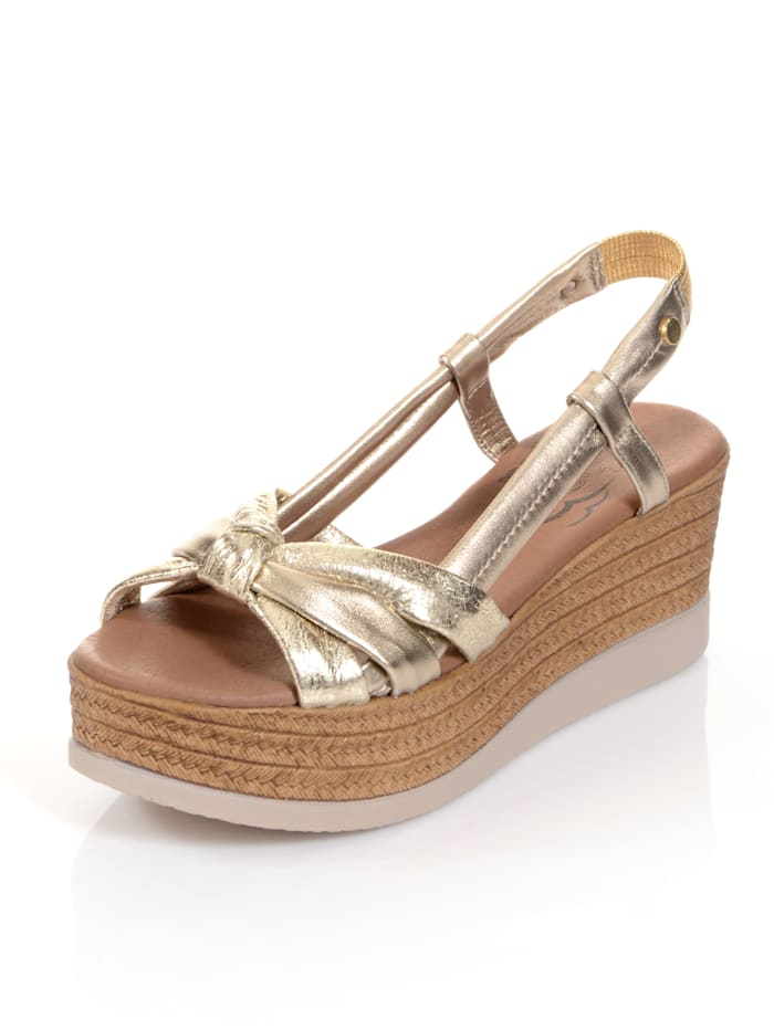 Alba Moda Sandalette mit effektvoller Knotenoptik auf der Front, Goldfarben