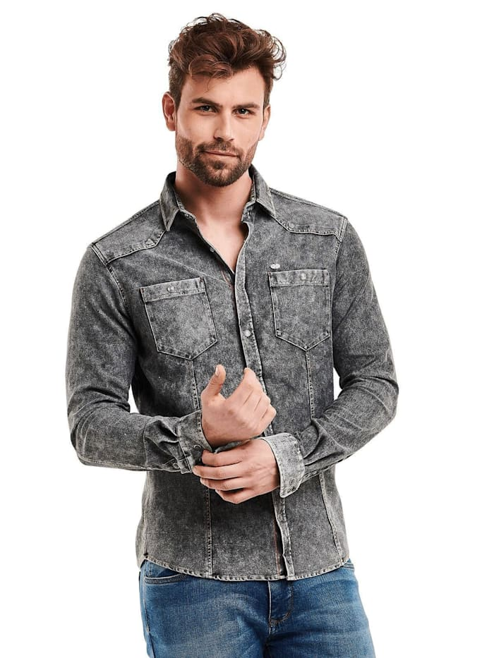 Engbers sportives Jeanshemd slim fit, Anthrazit