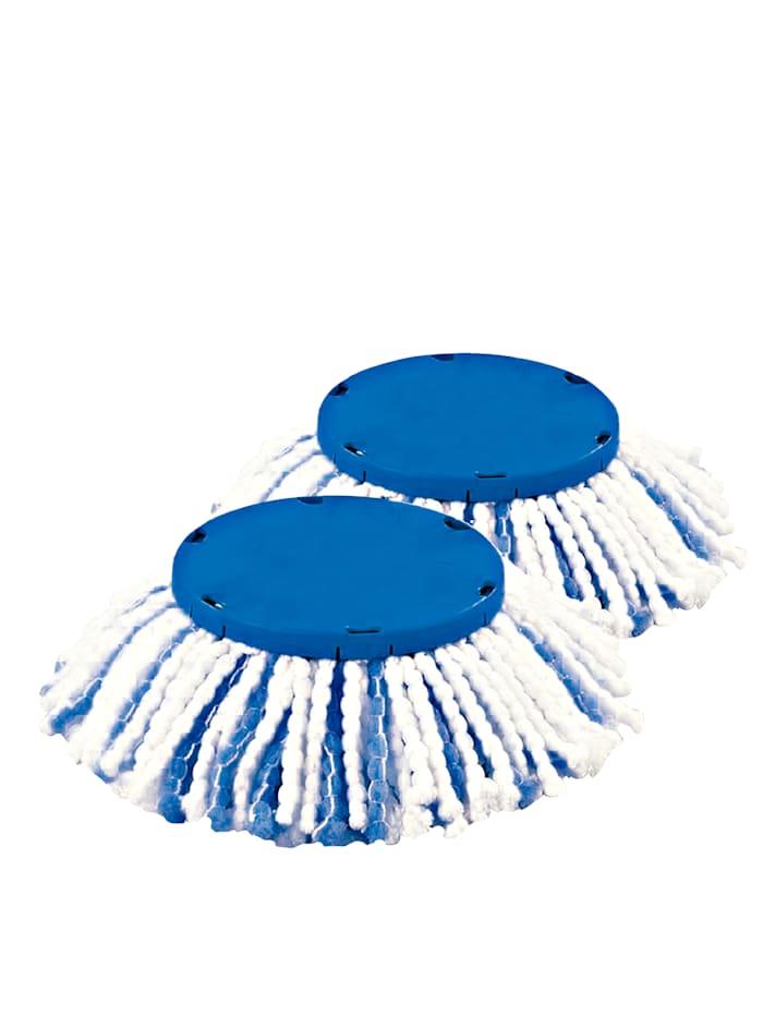 HSP Hanseshopping Clever Clean antivirales & antibakterielles 2er-Set Ersatzmopp 'ViralOff®', weiß/blau