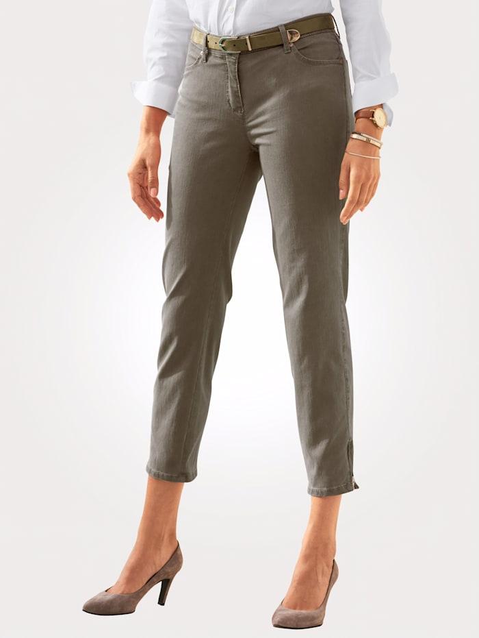 Toni 7/8-Jeans mit Saum-Reißverschluss, Khaki