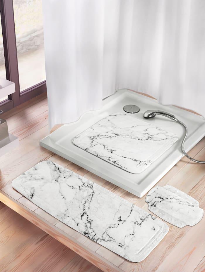 """Kleine Wolke Badewanneneinlage """"Marmor"""", weiß/grau marmoriert"""