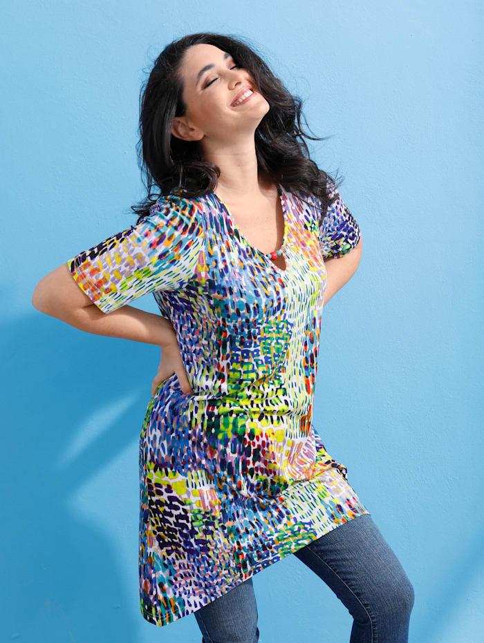 MIAMODA Zipfelshirt mit buntem Animalprint, Multicolor