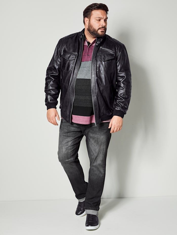 Men Plus Lederjacke Spezialschnitt, Schwarz