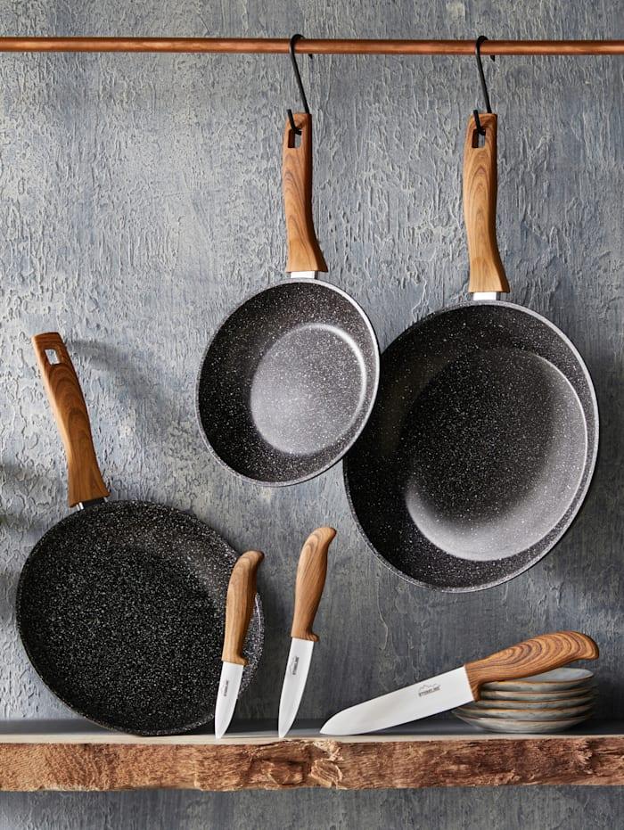 STONELINE pannesett i 3 deler + keramikkniver