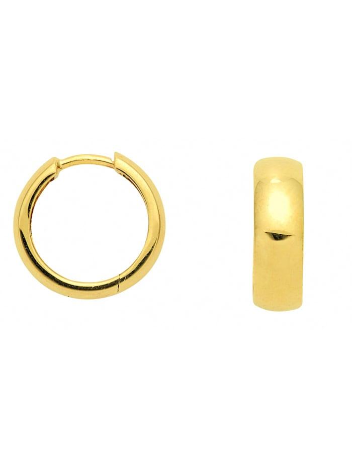 1001 Diamonds Damen Goldschmuck 585 Gold Ohrringe / Creolen Ø 14 mm, gold