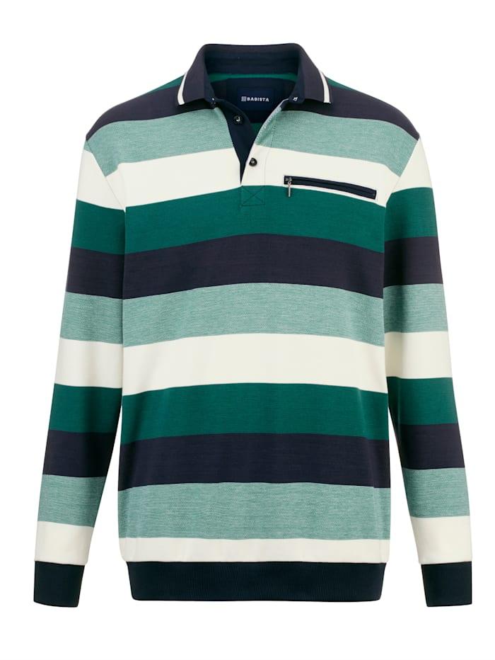 BABISTA Sweat-shirt à col polo, Vert/Écru