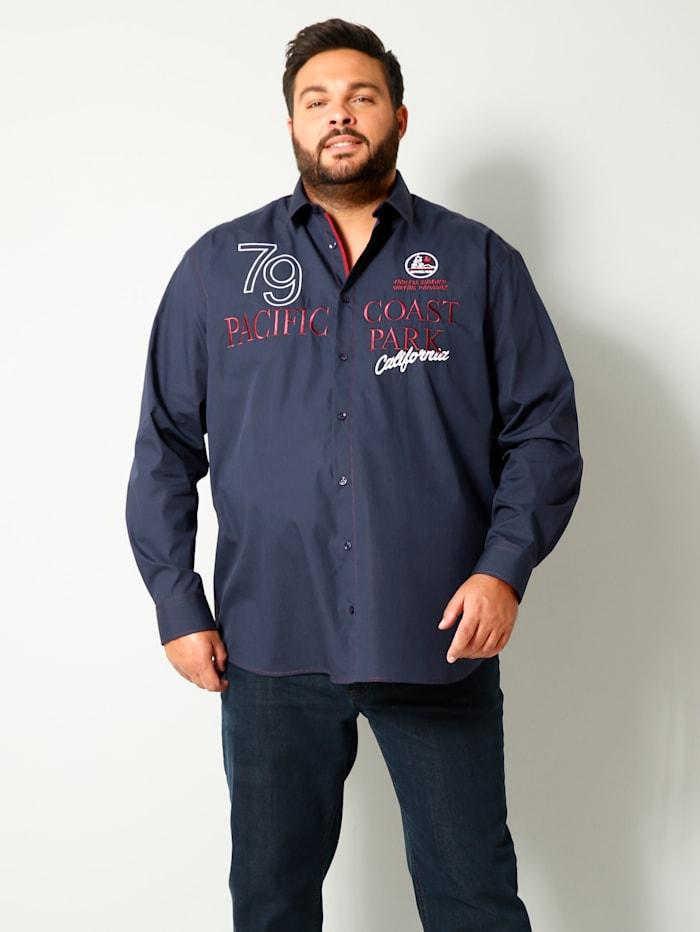 Men Plus Hemd aus reiner Baumwolle, Marineblau/Bordeaux