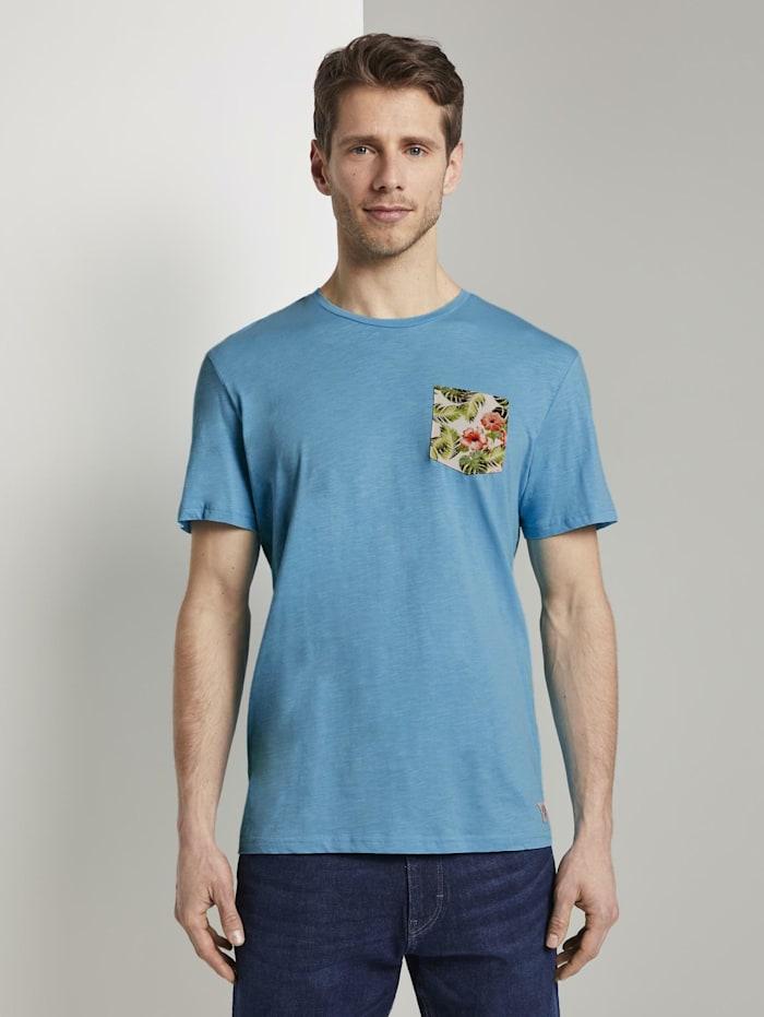 Tom Tailor T-Shirt mit gemusterter Brusttasche, clear blue atoll