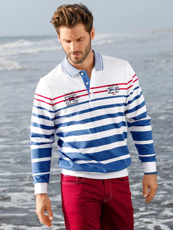 Sweatshirt met bicolor polokraag en knoopsluiting