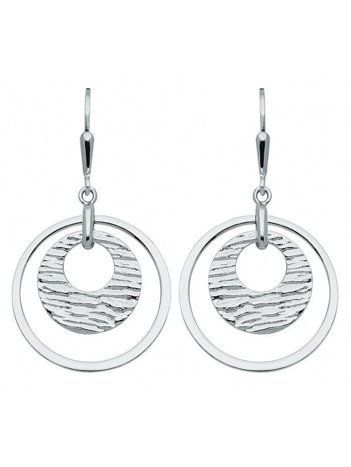 1001 Diamonds Damen Silberschmuck 925 Silber Ohrringe / Ohrhänger Ø 23,2 mm, silber