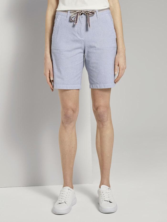 Tom Tailor Relaxed Chino Bermuda Shorts mit Stoffgürtel, Thin Stripe Pants