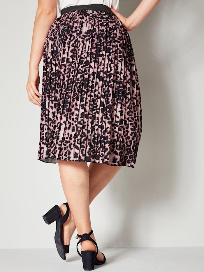 Plisserad kjol i leopardmönstrat