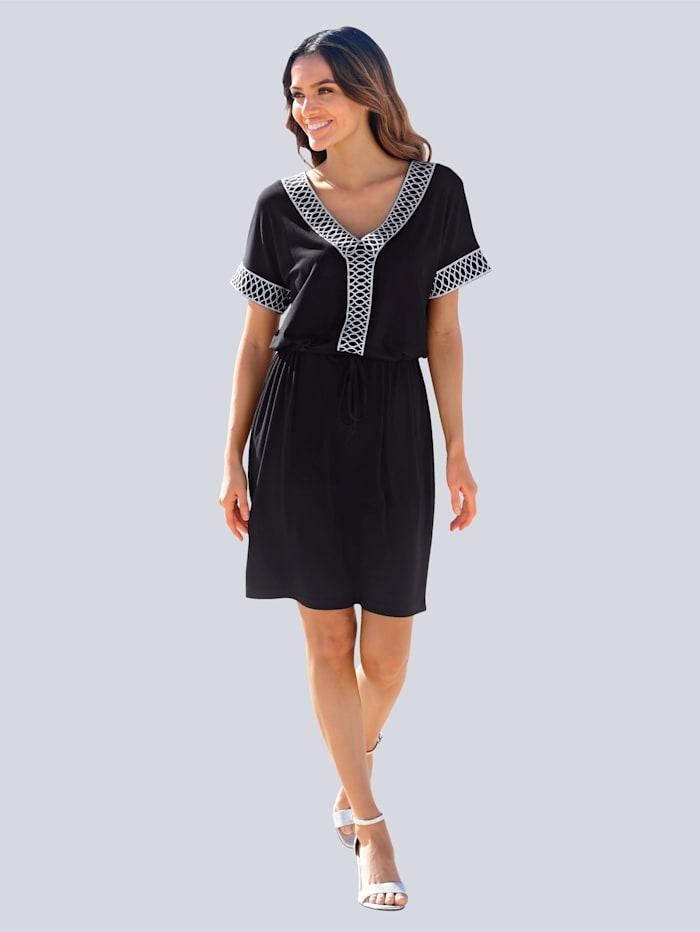 Alba Moda Strandjurk met decoratief borduursel, Zwart
