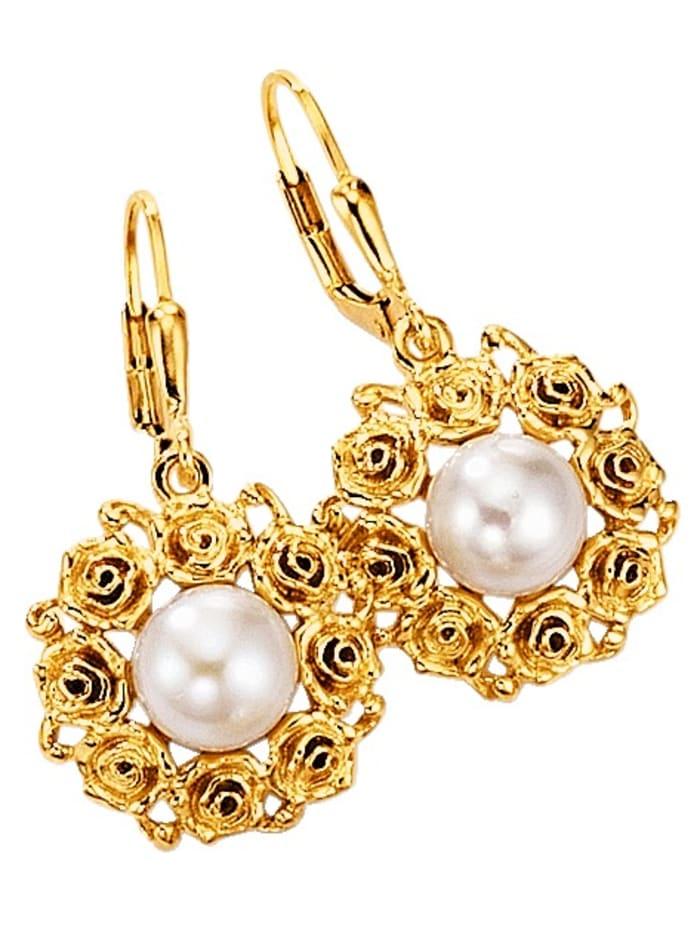 Amara Atelier Ohrringe mit Süßwasser-Zuchtperlen, Weiß