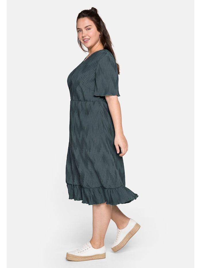 Sheego Plisseekleid mit Volant und plissiertem Zick-Zack-Muster