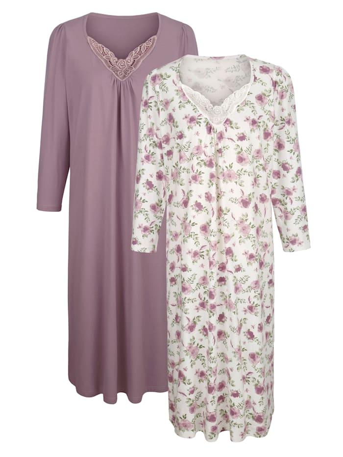 Harmony Noční košile s jemnými krajkovými detaily, Růžové dřevo/Ecru/Zelená