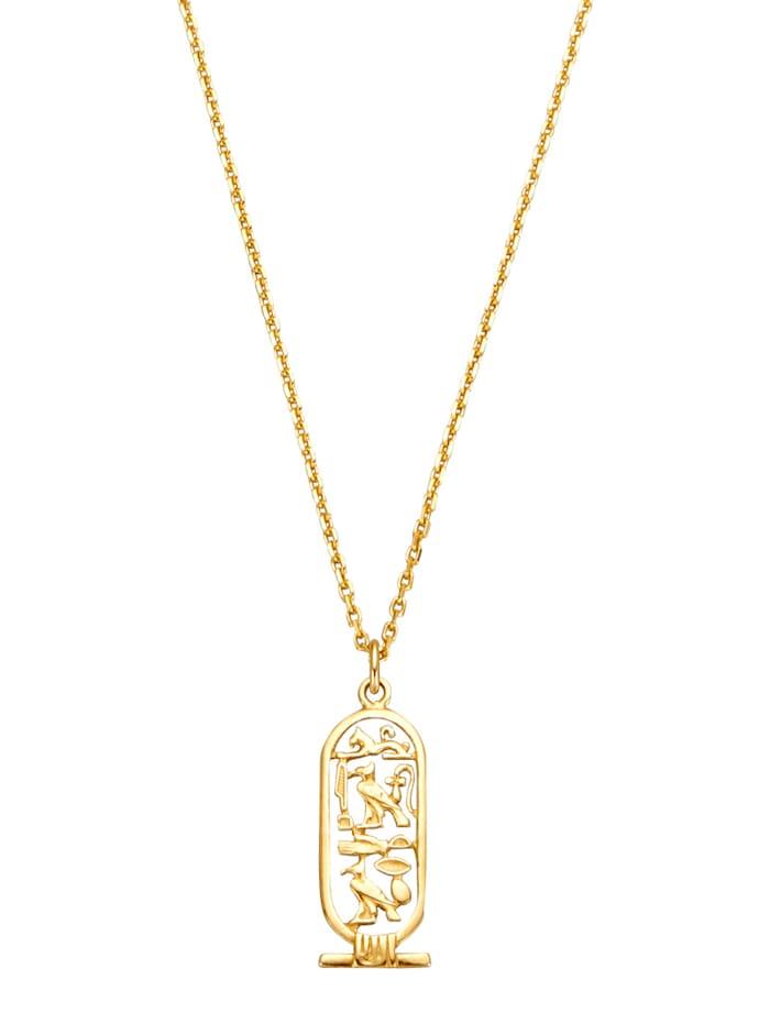 Ursula Christ Kleopatran kartussi -riipus ja kaulaketju, Keltakullanvärinen